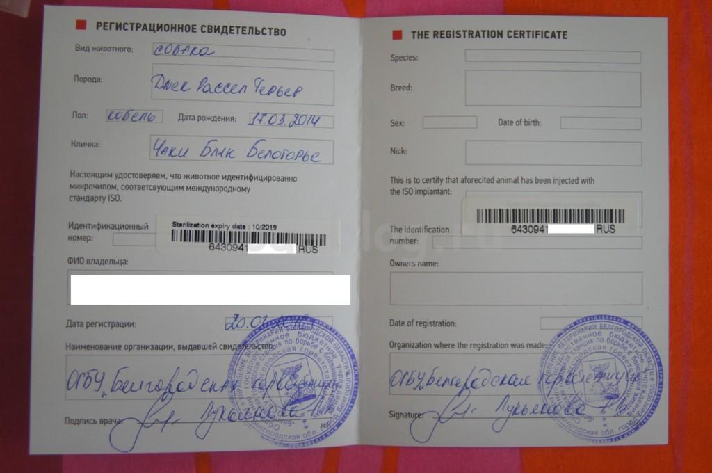 Регистрационное свидетельство о чипировании собаки