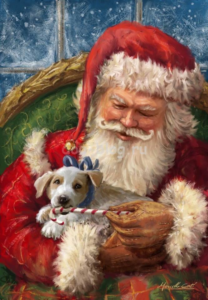 Дед мороз с собакой