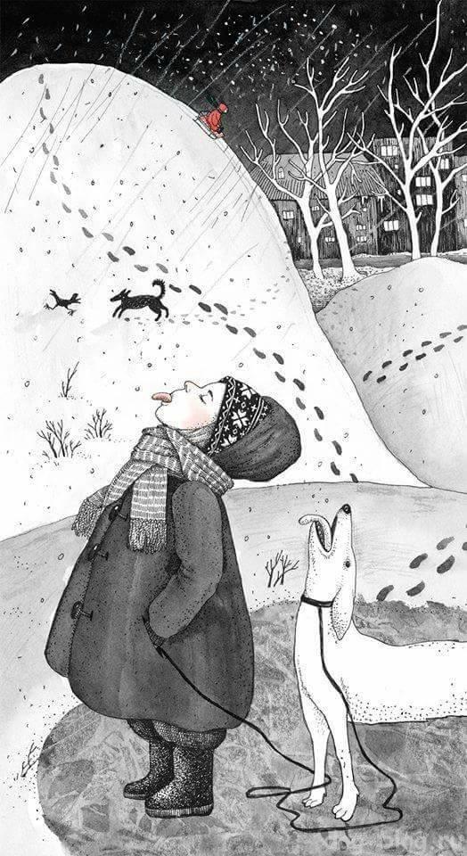 гуляем с собакой в снег
