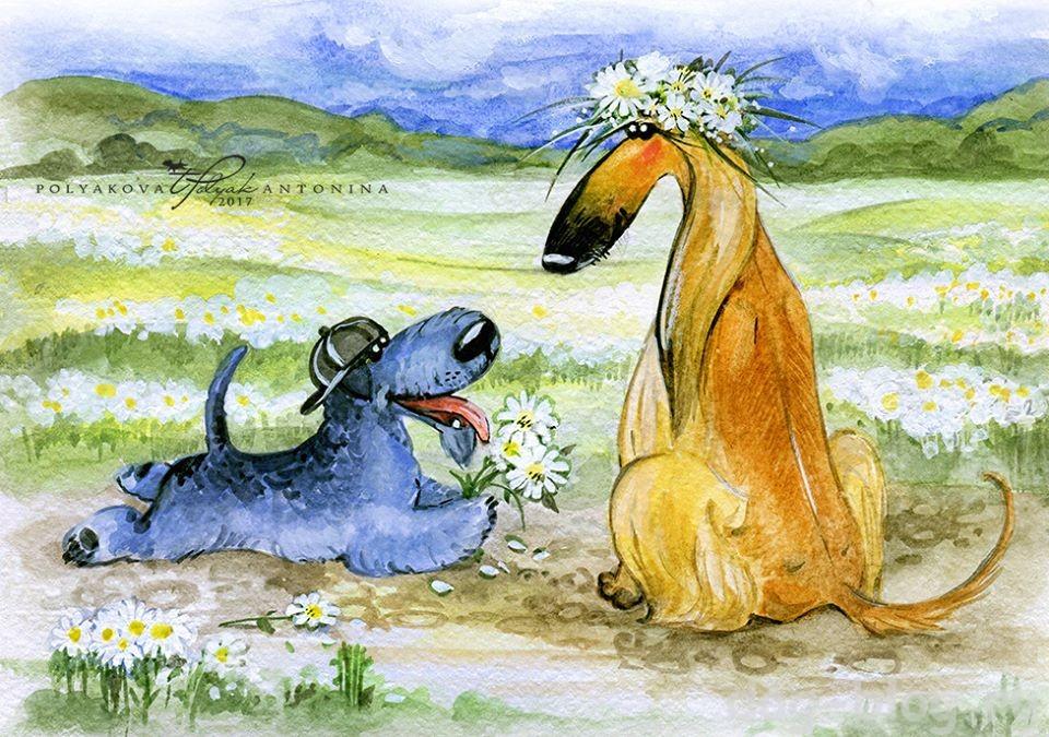 рисунки про собак Поляковой