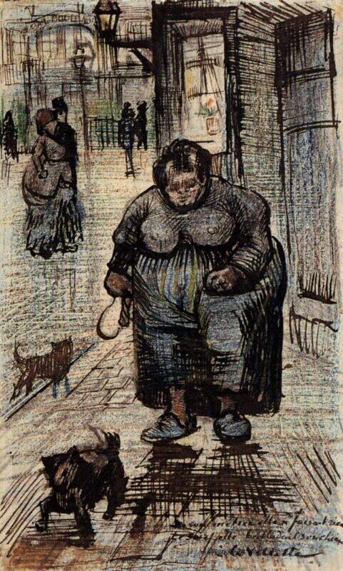 Ван Гог Woman Walking Her Dog